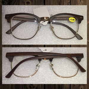 +2.00 Clubmaster Semi Rimless Wood Reading Glasses